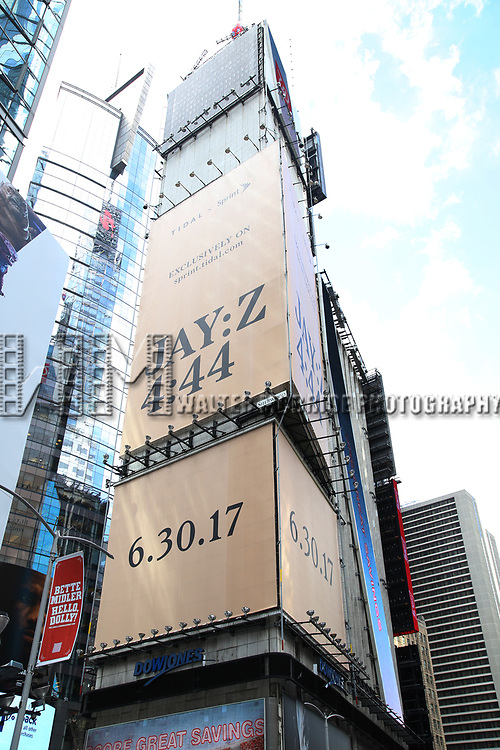 """Times Square billboard for JAY-Z's new album, """"4:44"""" on June 30, 2017 in Times Square, New York City."""
