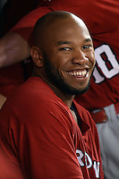 Oklahoma City RedHawks first baseman Jon Singleton (24) in the dugout during a game against the Memphis Redbirds on May 23, 2014 at AutoZone Park in Memphis, Tennessee.  Oklahoma City defeated Memphis 12-10.  (Mike Janes/Four Seam Images)