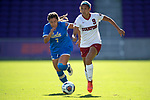 ORLANDO, FL - DECEMBER 03: Tegan McGrady  #9 of Stanford University and Anika Rodriguez #7 of UCLA chase after the ball during the Division I Women's Soccer Championship held at Orlando City SC Stadium on December 3, 2017 in Orlando, Florida. Stanford defeated UCLA 3-2 for the national title. (Photo by Jamie Schwaberow/NCAA Photos via Getty Images)