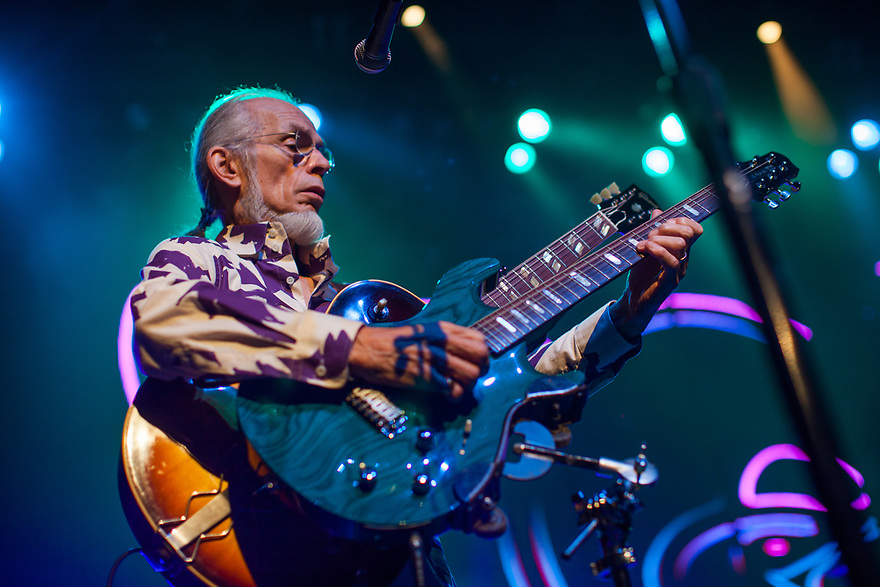 Hall of Fame band Yes performs at the Warfield in San Francisco. Lead guitarist Steve Howe holds two guitars at the same time.
