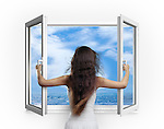 Young woman opening a window with a view on the sea, concept isolated on white background