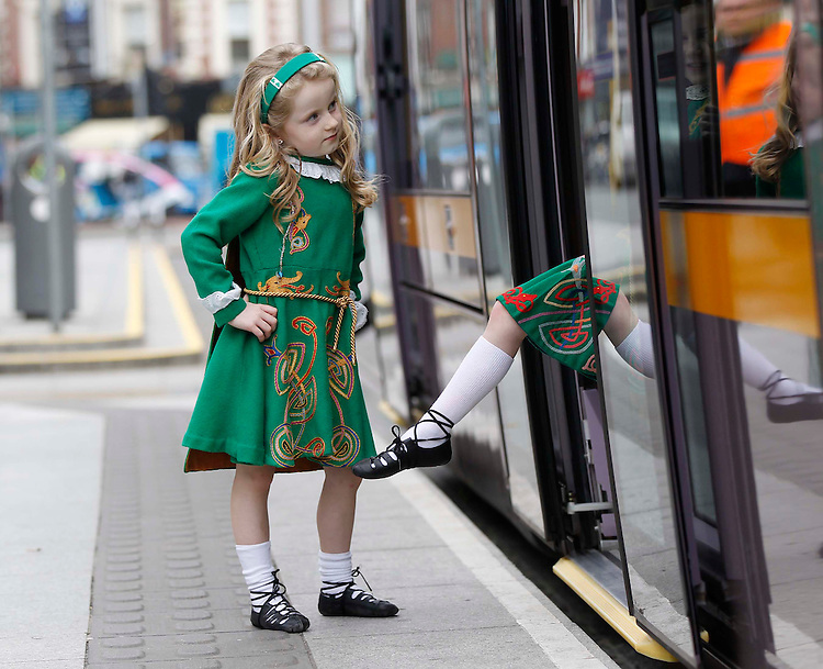 .No Rpro Fee..Pictured here is Eve Kirby (6)..Dancing on the streets - and on the Luas! - today (March 14th) were St. Patrick's Festival to announce one of the most popular events on the annual programme..Put o your dancing shoes and kick off the St. Patrick's Festival weekend celebrations by joining the fun at this year's Festival Ceili, taking place at St. Stephen's Green on Friday March 16th. Irish Dancing superstar Dearbhla Lennon of Riverdance fame will be joined by a whole host of professional dancers and instructors to get the four day festival underway..Pic: Robbie Reynolds/CPR.