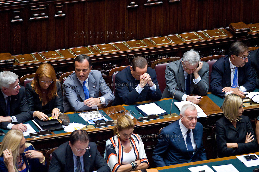 Ministri del Governo durante una seduta alla Camera dei Deputati