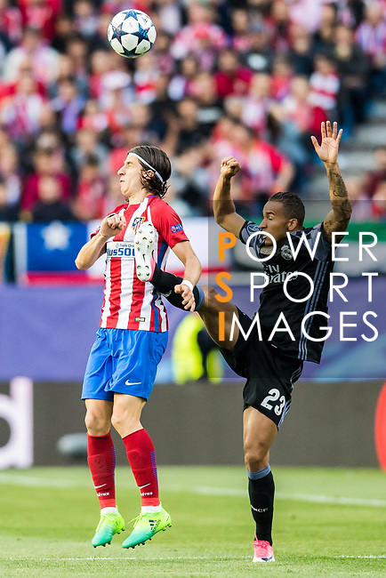 Danilo Luiz Da Silva (r) of Real Madrid fights for the ball with Filipe Luis of Atletico de Madrid during their 2016-17 UEFA Champions League Semifinals 2nd leg match between Atletico de Madrid and Real Madrid at the Estadio Vicente Calderon on 10 May 2017 in Madrid, Spain. Photo by Diego Gonzalez Souto / Power Sport Images
