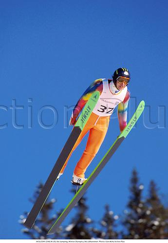 M SLUSNY (SVK) K120, Ski Jumping, Winter Olympics, 94, Lilihammer. Photo: Glyn Kirk/Action Plus...jump.olympic games.1994.skiing.skier.ski-jump.ski-jumping.winter sport.winter sports.wintersport.wintersports.nordic.skijump ski-jump ski jumper jumping jump