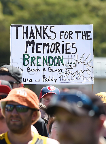 24.02.2016. Christchurch, New Zealand.  Brendon McCullum fans at the post match presentation on Day 5 of the 2nd test match. New Zealand Black Caps versus Australia. Hagley Oval in Christchurch, New Zealand. Wednesday 24 February 2016.
