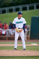 Lynchburg Hillcats relief pitcher James Karinchak (37) gets ready to deliver a pitch during the first game of a doubleheader against the Potomac Nationals on June 9, 2018 at Calvin Falwell Field in Lynchburg, Virginia.  Lynchburg defeated Potomac 5-3.  (Mike Janes/Four Seam Images)