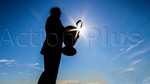 06.03.2016. Celtic Park, Glasgow, Scotland. Scottish Cup. Celtic versus Morton. Jock Stein statue in sunlight before todays match