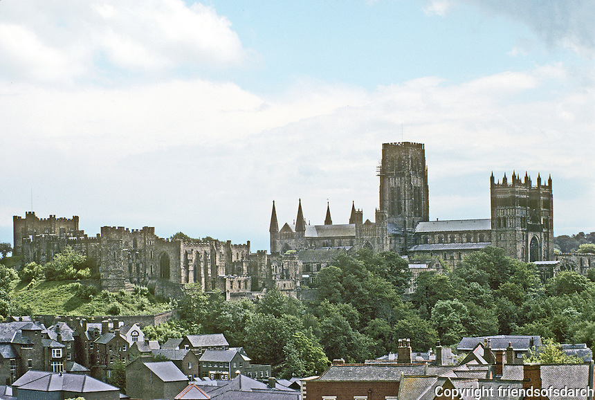 Durham: Castle ruins and Cathedral from across the river and to the Northwest. Photo '90.