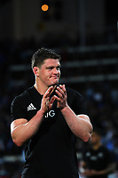 Scott Barrett thanks fans after the Rugby Championship match between the NZ All Blacks and Argentina Pumas at Yarrow Stadium in New Plymouth, New Zealand on Saturday, 9 September 2017. Photo: Dave Lintott / lintottphoto.co.nz