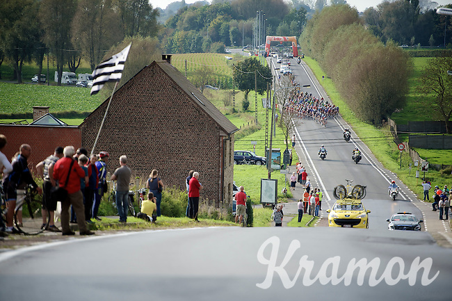 peloton approaching<br /> <br /> stage 1<br /> Euro Metropole Tour 2014 (former Franco-Belge)