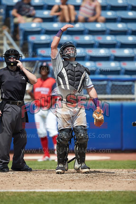 Winston-Salem Dash catcher Evan Skoug (19) on defense against the San Bernardos de Salem at Haley Toyota Field on June 30, 2019 in Salem, Virginia. The Dash defeated the San Bernardos 3-2. (Brian Westerholt/Four Seam Images)