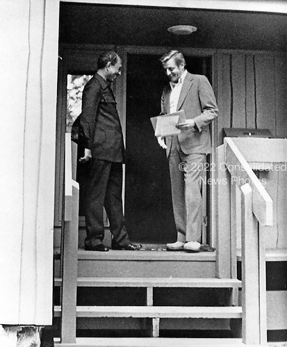 President Anwar al-Sadat of Egypt, left, and President Anwar Sadat of Egypt meet at Camp David, the US presidential retreat near Thurmont, Maryland during the final hours of the Egypt-Israel Peace Summit on September 17, 1978..Credit: White House via CNP