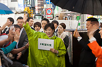 Yuriko Koike electioneering for her Party of Hope (Kibo no To) at Shibuya crossing, Shibuya, Tokyo, Japan. Friday October 13th 2017 Koike became the Governor of Tokyo after splitting from the ruling Liberal Democratic Party (LDP)  and running against their candidate. She formed her own party after Prime Minister Shinzo Abe called a snap election. Though not running for office herself this election she remains a popular figure and campaigns for her candidates. and is predicted to weaken Abe's majority. in the Diet.