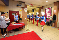 """Pictured: Swansea band entering the cinema. Sunday 14 September 2014<br /> Re: Film premiere of """"Jack To A King"""" depicting the recent history pf Swansea City Football Club, at the Odeon Cinema, Swansea, south Wales, UK."""