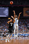 GLENDALE, AZ - APRIL 03: Joel Berry II #2 of the North Carolina Tar Heels shoots the ball over Silas Melson #0 of the Gonzaga Bulldogs during the 2017 NCAA Men's Final Four National Championship game at University of Phoenix Stadium on April 3, 2017 in Glendale, Arizona.  (Photo by Brett Wilhelm/NCAA Photos via Getty Images)