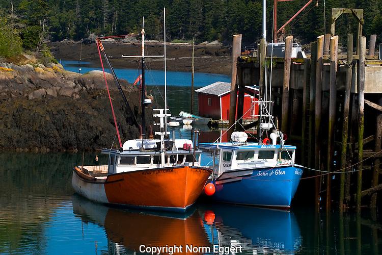 Two Fishing Boats Docked at Head Harbor, Campobello Island, New Brunswick, Canada