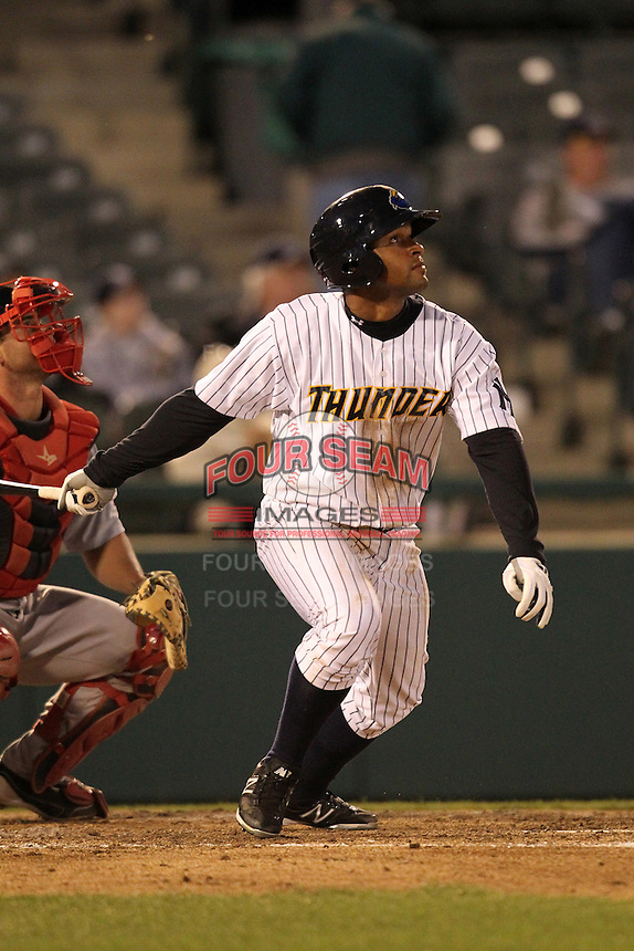 Trenton Thunder outfielder Zoilo Almonte #49 during a game against the Portland SeaDogs at Waterfront Park on April 9, 2012 in Trenton, New Jersey.  Trenton defeated Portland 8-3.  (Mike Janes/Four Seam Images)
