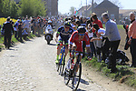 Part of the breakaway Kenneth Van Bilsen (BEL) Cofidis and Frederik Backaert (BEL) Wanty-Groupe Gobert on pave sector 29  Troisvilles a Inchy during the 115th edition of the Paris-Roubaix 2017 race running 257km Compiegne to Roubaix, France. 9th April 2017.<br /> Picture: Eoin Clarke | Cyclefile<br /> <br /> <br /> All photos usage must carry mandatory copyright credit (&copy; Cyclefile | Eoin Clarke)