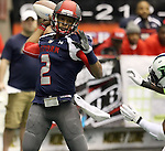 SIOUX FALLS, SD - FEBRUARY 21:  Chris Dixon #2 from the Sioux Falls Storm looks for a receiver against the Nebraska Danger in the second quarter of their game Friday night at the Sioux Falls Arena. (Photo by Dave Eggen/Inertia)