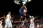 Engeland, London, 31 juli 2012.Olympische Spelen London.De supersterren uit de NBA lieten niets heel van Tunesië en zegevierden met 110-63.Anthony Davis van Team USA in actie met de bal