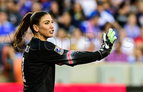 21.02.2016. Houston, TX, USA. United States Goalkeeper Hope Solo (1) during the Women's Olympic qualifying soccer final between Canada and USA at BBVA Compass Stadium in Houston, Texas.