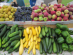 Farmers Market produce stand. Fruits and vegetables.