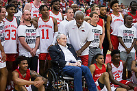 NWA Democrat-Gazette/BEN GOFF @NWABENGOFF<br /> Eddie Sutton and Nolan Richardson, former Arkansas head coaches, join in a team picture after the game Saturday, Oct. 5, 2019, during the annual Arkansas Red-White Game at Barnhill Arena in Fayetteville.