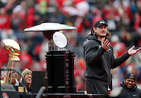 Linebacker Joey Bosa strikes his familiar pose during the Ohio State football National Championship celebration at Ohio Stadium on Saturday, January 24, 2015. (Columbus Dispatch photo by Jonathan Quilter)