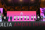 UAE Team Emirates on stage at the Teams Presentation held in Piazza Maggiore Bologna before the start of the 2019 Giro d'Italia, Bologna, Italy. 9th May 2019.<br /> Picture: Fabio Ferrari/LaPresse | Cyclefile<br /> <br /> All photos usage must carry mandatory copyright credit (&copy; Cyclefile | Fabio Ferrari/LaPresse)