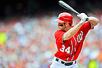 20 May 2012: Washington Nationals outfielder Bryce Harper in action against the Baltimore Orioles at Nationals Park in Washington, DC. The Nationals defeated the Orioles 9-3 to salvage the third game of their 3-game series. Mandatory Credit: Ed Wolfstein Photo