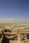 Israel, Negev. Archaeological remnants at the upper city in Tel Arad
