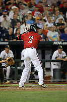 Grant Kay #7 of the Louisville Cardinals bats during Game 2 of the 2014 Men's College World Series between the Vanderbilt Commodores and Louisville Cardinals at TD Ameritrade Park on June 14, 2014 in Omaha, Nebraska. (Brace Hemmelgarn/Four Seam Images)