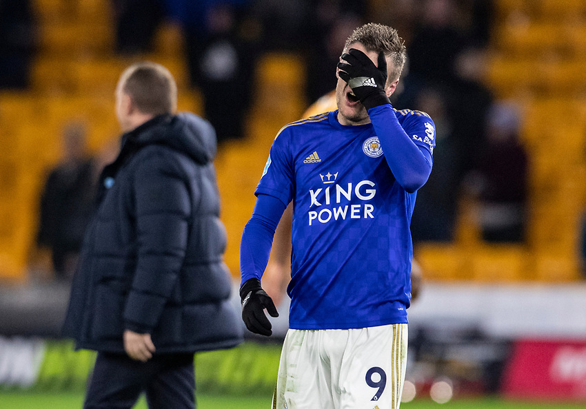 Leicester City's Jamie Vardy covers his face at the end of the match <br /> <br /> Photographer Andrew Kearns/CameraSport<br /> <br /> The Premier League - Wolverhampton Wanderers v Leicester City - Friday 14th February 2020 - Molineux - Wolverhampton<br /> <br /> World Copyright © 2020 CameraSport. All rights reserved. 43 Linden Ave. Countesthorpe. Leicester. England. LE8 5PG - Tel: +44 (0) 116 277 4147 - admin@camerasport.com - www.camerasport.com