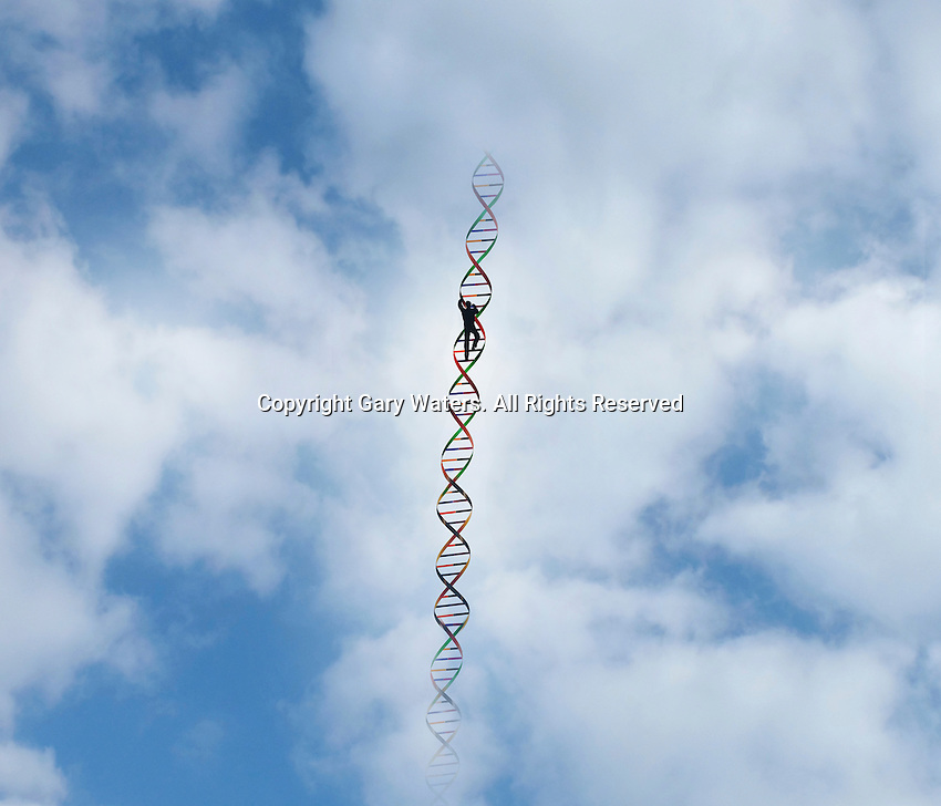 Man climbing up double helix in the sky ExclusiveImage