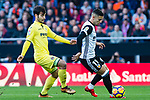 Andreas Pereira of Valencia CF (R) fights for the ball with Manuel Trigueros Munoz of Villarreal CF (L) during the La Liga 2017-18 match between Valencia CF and Villarreal CF at Estadio de Mestalla on 23 December 2017 in Valencia, Spain. Photo by Maria Jose Segovia Carmona / Power Sport Images