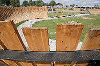 NWA Arkansas Democrat-Gazette/DAVID GOTTSCHALK Work continues on Berm Turns Tuesday, September 11, 2018, at the Runway Bicycle Skills Park at the Jones Center in Springdale. The park will have the largest asphalt pump track in North America and will host the Pump Track (bicycling) World Championships sponsored by Red Bull in October.