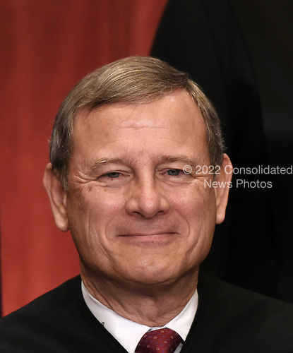Chief Justice of the United States John G. Roberts poses during a group photograph at the Supreme Court building on June 1 2017 in Washington, DC. <br /> Credit: Olivier Douliery / Pool via CNP