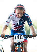 Picture by Alex Broadway/SWpix.com - 06/09/17 - Cycling - UCI 2017 Mountain Bike World Championships - XCO - Cairns, Australia - Evie Richards of Great Britain warms up prior to the Cross Country Team Relay.