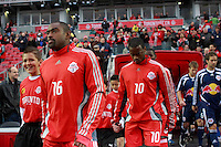 Toronto FC defender Marvell Wynne (16)and midfielder Rohan Ricketts (10) enter the field before the game. Toronto FC and the New York Red Bulls played to a 1-1 tie during a Major League Soccer match at BMO Field in Toronto, Ontario, Canada, on May 1, 2008.