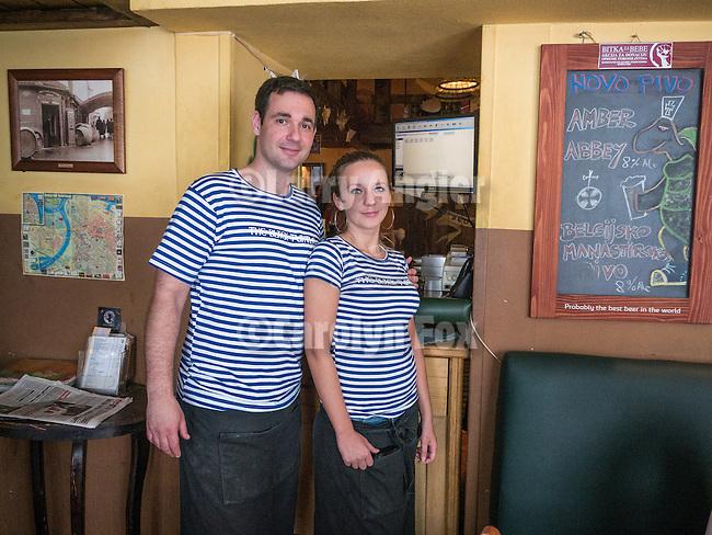 Proprietors during lunch at the Black Turtle brew pub, Belgrade<br /> <br /> Belgrade, Serbia