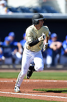 Vanderbilt Commodores infielder Tyler Campbell (2) runs to first during a game against the Indiana State Sycamores on February 21, 2015 at Charlotte Sports Park in Port Charlotte, Florida.  Indiana State defeated Vanderbilt 8-1.  (Mike Janes/Four Seam Images)