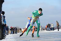 SCHAATSEN: EMMEN: Grote Rietplas, KPN NK Marathon Natuurijs, 08-02-2012, Bob de Vries, ©foto: Martin de Jong