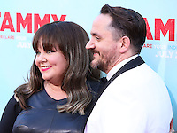 "HOLLYWOOD, LOS ANGELES, CA, USA - JUNE 30: Actress Melissa McCarthy husband/actor Ben Falcone arrive at the Los Angeles Premiere Of Warner Bros. Pictures' ""Tammy"" held at the TCL Chinese Theatre on June 30, 2014 in Hollywood, Los Angeles, California, United States. (Photo by Xavier Collin/Celebrity Monitor)"