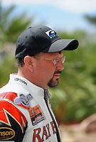 Apr. 1, 2012; Las Vegas, NV, USA: NHRA top fuel motorcycle rider Ray Price during the Summitracing.com Nationals at The Strip in Las Vegas. Mandatory Credit: Mark J. Rebilas-