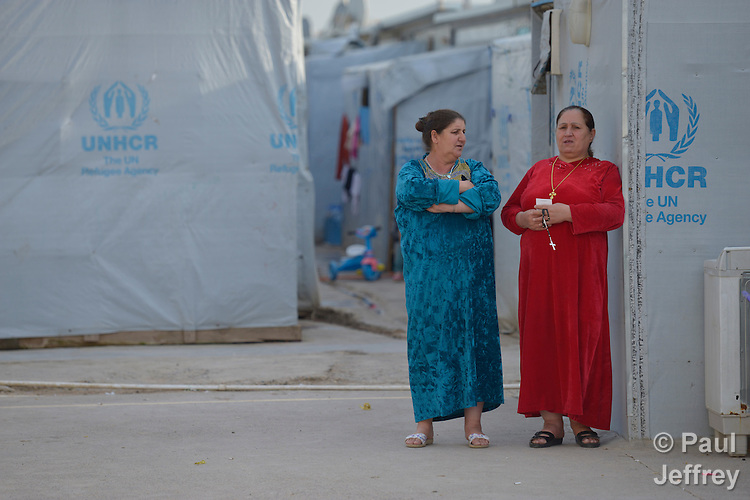 Women in a camp for internally displaced families in Ankawa, near Erbil, Iraq, on April 9, 2016. Residents of the camp, mostly Christians, were displaced from Mosul, Qaraqosh and other communities in Iraq when ISIS swept through the area in 2014.