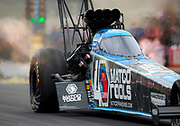Aug 31, 2019; Clermont, IN, USA; NHRA top fuel driver Antron Brown during qualifying for the US Nationals at Lucas Oil Raceway. Mandatory Credit: Mark J. Rebilas-USA TODAY Sports