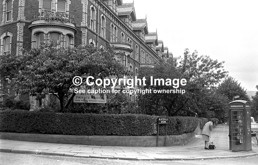 Belgravia Hotel, Belfast, N Ireland, UK. The hotel was created from a block of elegant terrace houses in the suburbs of South Belfast.  Outwardly they retained the appearance of individual homes. 197308220561d..Copyright Image from Victor Patterson, 54 Dorchester Park, Belfast, UK, BT9 6RJ..Tel: +44 28 9066 1296.Mob: +44 7802 353836.Voicemail +44 20 8816 7153.Skype: victorpattersonbelfast.Email: victorpatterson@mac.com.Email: victorpatterson@ireland.com (back-up)..IMPORTANT: If you wish to use this image or any other of my images please go to www.victorpatterson.com and click on the Terms & Conditions. Then contact me by email or phone with the reference number(s) of the image(s) concerned.
