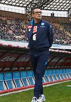 Napoli's coach  Maurizio Sarri lock on before during the  italian serie a soccer match,between SSC Napoli and Empoli      at  the San  Paolo   stadium in Naples  Italy , January 31, 2016