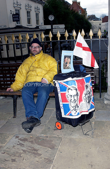 WWW.ACEPIXS.COM . . . . .  ... . . . . US SALES ONLY . . . . .....WINDSOR, APRIL 7, 2005....Phil Ward, a Royal family fan, in Windsor awaiting the Royal Wedding with his Charles and Camilla memorabilia. ....Please byline: FAMOUS-ACE PICTURES-P. POPE... . . . .  ....Ace Pictures, Inc:  ..Craig Ashby (212) 243-8787..e-mail: picturedesk@acepixs.com..web: http://www.acepixs.com